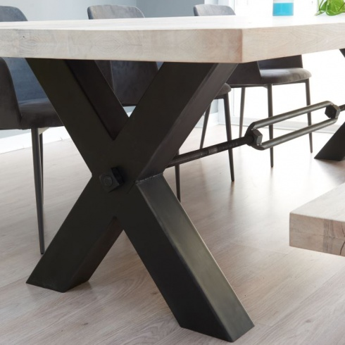 . Bolt Industrial Wood Dining Table   Metal Legs